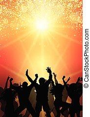 party crowd on sunburst background 0504