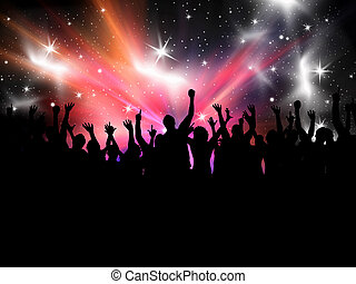 Party crowd - Silhouette of a crowd of party people on a...