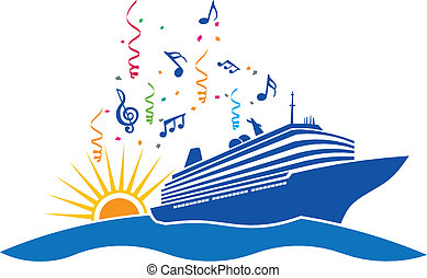 Party cruise in sea with sun