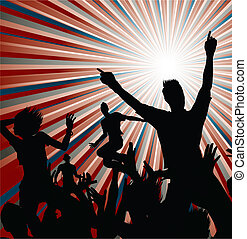 Party - Dancing people silhouettes with sunburst background
