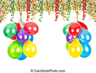 Party decoration. Air balloons, confetti, serpentine - Party...