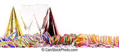 Party decoration with sparkling wine or champagne, confetti...