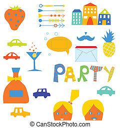 Party design elements set for hipster