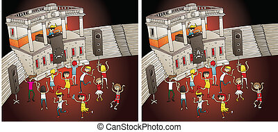 Party Differences Visual Game. Task: find 10 differences!...