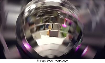 Party Disco ball with colorful lights rotating