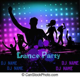 party, disko, grunge, schablone, plakat