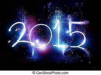 party, display!, feuerwerk, -, jahr, 2015, neu