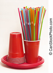 Party disposable tableware set - Wisp of colored plastic, ...