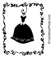 Party Dress Hanging in a Frame of Ribbons and Bows