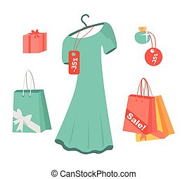 Party Dresses, Accessory, Perfumes on Sale. Vector