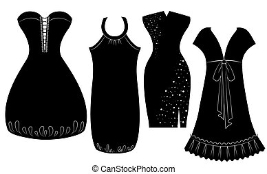 Party dresses for woman isolated on white. Vector black silhouette