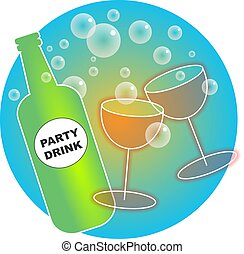 Party Drinks - Party drinks and glasses illustration.
