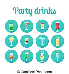 Party drinks in circle icons