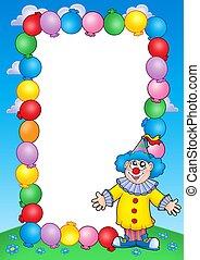 party, einladung, rahmen, mit, clown, 2