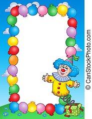 party, einladung, rahmen, mit, clown, 3