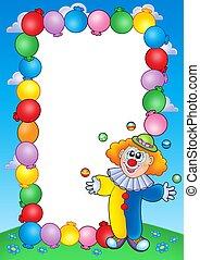 party, einladung, rahmen, mit, clown, 4
