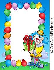 party, einladung, rahmen, mit, clown, 5