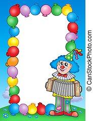 party, einladung, rahmen, mit, clown, 6