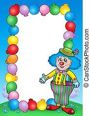 party, einladung, rahmen, mit, clown, 7