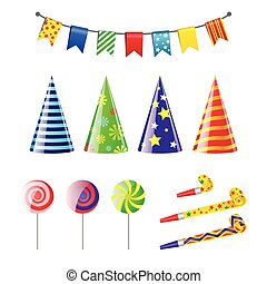 Party Elements - realistic vector set of holiday objects