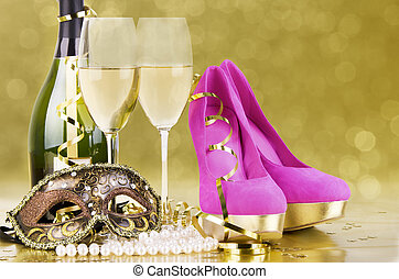 Party event concept - Champagne with blur light, in golden ...