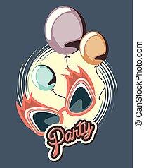 party, feier, retro, brille, und, luftballone
