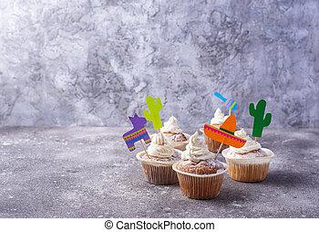 party, feiern, cupcakes, fest, mexikanisch