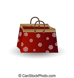 Party festive gift bag of red paper with golden ribbon decorated with a winter pattern of snowflakes isolated on a white background
