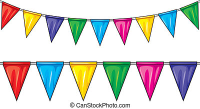 party flags (party pennant bunting, bunting flags)