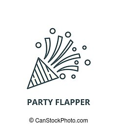 Party flapper vector line icon, linear concept, outline...