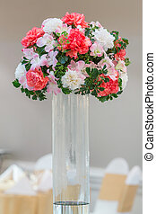 Party flower bouquet - Flower bouquet in glass vase on ...