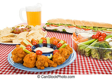 Party Food Variety - Table set with a variety of party foods...