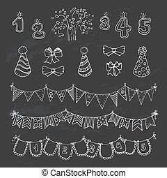 Party freehand vector doodles