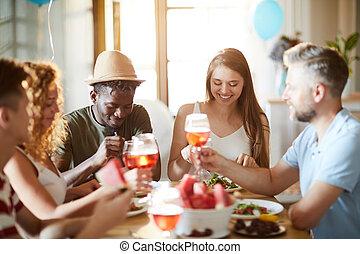 party, friends, tisch