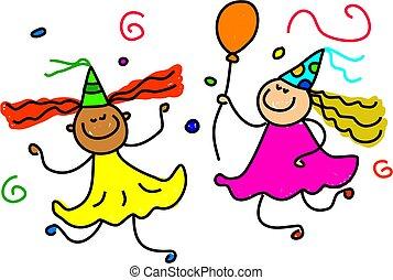 party fun - diverse kids having fun at a party - toddler art...