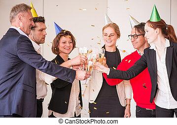 party, geschäftsbüro, leute