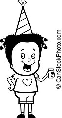 Party Girl - A happy cartoon girl in a party hat.
