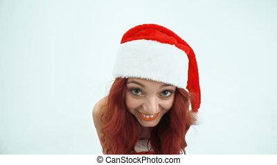 Party Girl - Fish eye of pretty girl dancing in Santa Claus...