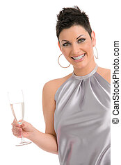 Party girl with champagne