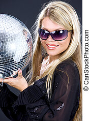 party girl with disco ball - portrait of party girl with...