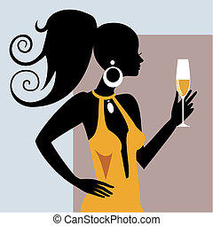 Young woman with champagner glass. Full scalable vector graphic, change the colors as you like.