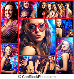Party girls - Collage of happy girls at hen party in the ...