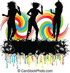 Party - girls silhouette