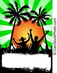 party, grün, plakat, handflächen
