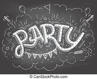 Party Hand Lettering Einladung Tick Elemente Hand Lettering