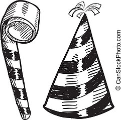 Party hat and noisemaker sketch - Doodle style New Year's...
