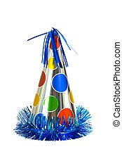 Party Hat - Brightly colored party hat on white background
