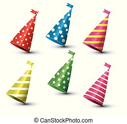 Party Hat Isolated Set on White Background.