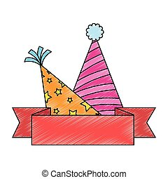 party hats celebration with ribbon vector illustration ...