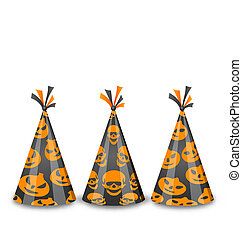 Party hats for Halloween, isolated on white background